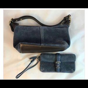 Vtg Coach Blue Suede Handbag & Matching Wristlet